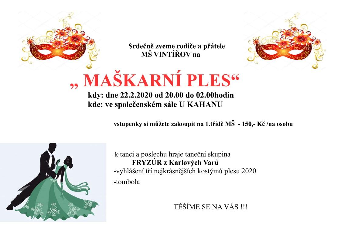Plakát na maškarní ples